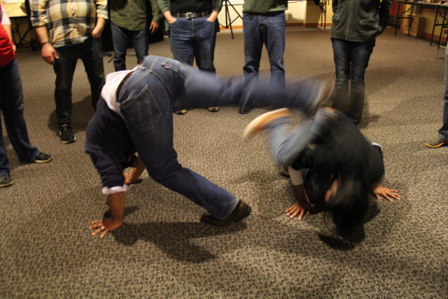 Craig and Arvind playing capoeira at UptoAllofUs 2014